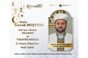 2015 Yılı Dünya 1 .si Hfz. Ferruh MUŞTUER Kur'an-ı Kerim Tilaveti ve Teravih Namazı